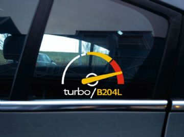 Turbo B204L, boost sticker / decal - for Saab 900 (NG) 2.0T & 9-3 first gen